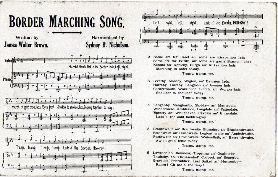 Border Regiment marching song postcard 1915 (front).jpg