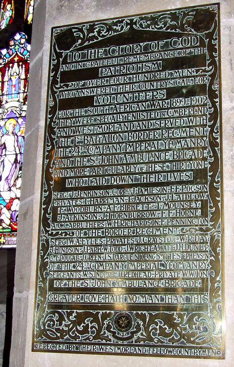 Border, St. Johns and 24th Yeomanry plaque, Kendal Parish Church.jpg