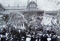 Volunteers return to Kendal Railway station 1901.jpg